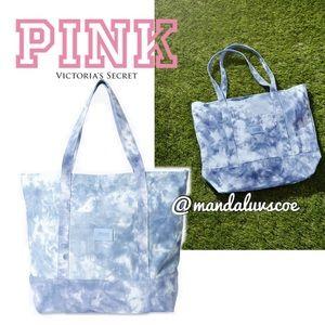 ✌🏻LEFT💕VS PINK BLUE WHITE TIEDYE CANVAS TOTE BAG
